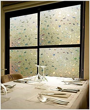 60cm X 200cm, DL005 DUOFIRE Window Film No-Glue Static Cling Privacy Window Film 3D Decorative Glass Window Sticker Anti-UV