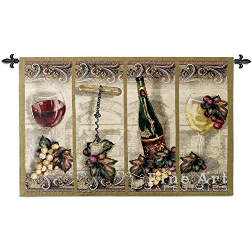 Nouveau Wine - Woven Tapestry Wall Art Hanging - Scrolled Panel Wine Grape Leaf Artwork Great for Wine Cellar - 100% Cotton - USA 35X53