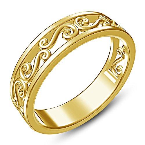 14k Gold Plated Filigree (TVS-JEWELS 14k Gold Plated Sterling Silver In Elegant Design Filigree Band Ring)