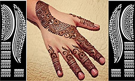 Henna Mehndi Stickers : Henna stickers tattoo body art mehndi stencils template decal