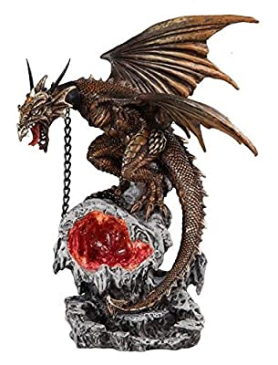 StealStreet SS-G-71599, Yellow Roaring Dragon with LED Light Up Orbe Decorative Statue