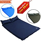 Fruiteam Camping Sleeping Pad Self Inflating Mat for 2 Person with Attached Pillow