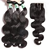Msbeauty Hair 10A Brazilian Body Wave 3 Bundles with Closure 4x4 Three Part 18 20 22 inch +16 inch lace closure Virgin Human Hair Bundles Natural Color