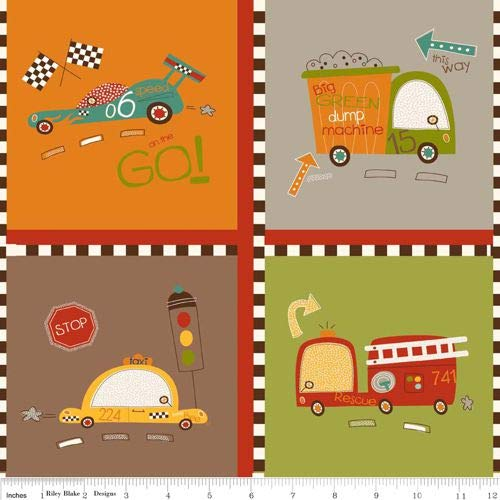 - 1 Panel On Our Way from Riley Blake 100% Cotton Quilt Fabric with Cars, Fire Trucks, Dump Trucks, Taxis C4121 Brown