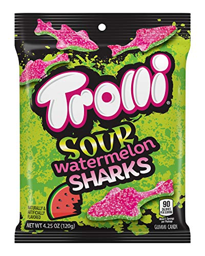Trolli Sour Watermelon Sharks Gummy Candy, 4.25 Ounce Peg Bag (Pack of 12)]()