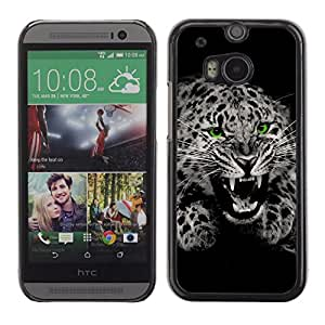 Stuss Case / Funda Carcasa protectora - Fangs Black White Leopard Spots Fur Roar - HTC One M8