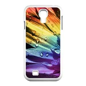 Rainbow Flower 2 Samsung Galaxy S4 Case, Men Luxury Case Case for Samsung Galaxy S4 for Men Jumphigh {White}