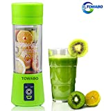 TOWABO USB Juicer Cup, Fruit Mixing Machine, Portable Personal Size Eletric Rechargeable Mixer, Blender, Water Bottle 380ml with USB Charger Cable Portable Juice Blender and Mixer