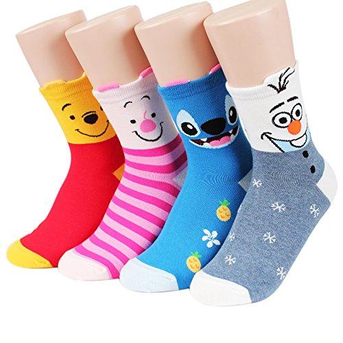 Socksense Disney Pixar Character Series Women's Original Crew Socks (Pooh Friends_4pairs) Assorted, One (Pooh Socks)