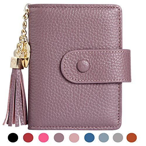 Card Case Mini Wallet - Women's Mini Credit Card Case Wallet with ID Window and Card Holder purse 9 Colors(Lavender)