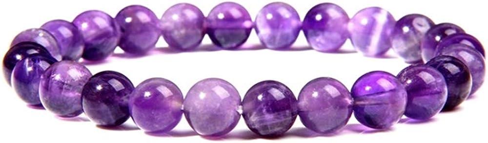 SSQY Mujer Natural Amatista tirosa Pulsera para Mujeres Hombres Simple púrpura Cuarzo Cristal Pulseras joyería para Damas al por Mayor 19cm 4 Amatista de ensueño 1