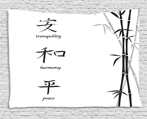 Ambesonne Bamboo Tapestry, Illustration of Chinese Symbols for Tranquility Harmony Peace with Bamboo Pattern, Wall Hanging for Bedroom Living Room Dorm, 80 W X 60 L Inches, Charcoal White