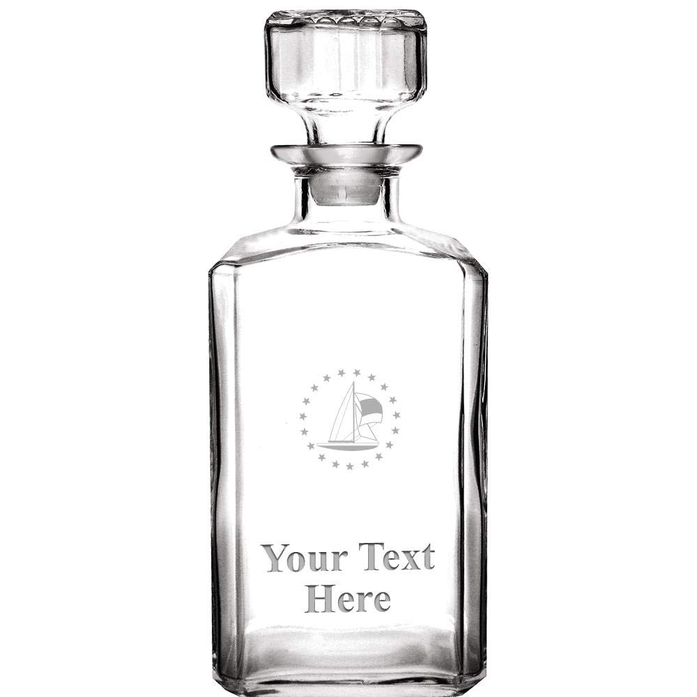 Personalized Whiskey Decanter, 33.75 oz Engraved Sailboat Custom Glass Decanter Sailing Gift With Your Own Text Included Prime