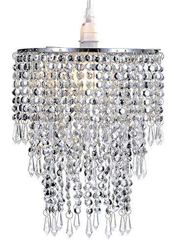 Waneway 3 Tier Beads Pendant Shade, Ceiling Chandelier Lampshade with Acrylic Jewel Droplets, Beaded Lampshade with Chrome Frame and Sparkling Beads, Diameter 8.7 inches, Silver