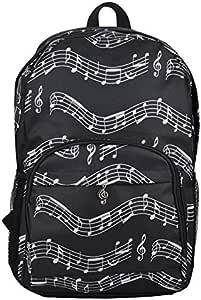 JVSISM Musical Backpack Backpack Musical Notes Oxford Cloth Bag Art Department Storage Backpack Black