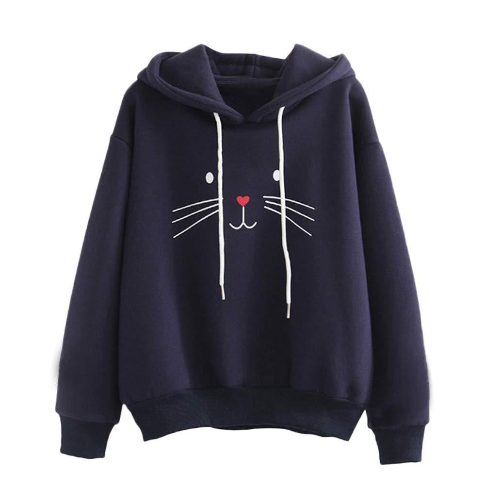 XOWRTE Women's Long Sleeve Cat Printing Autumn Jumper Hoodie Pullover Hooded Sweatshirt Fashion 2018