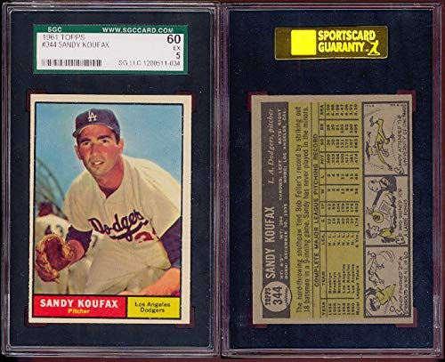 1961 Topps Regular (Baseball) card#344-sgc Sandy Koufax SGC (psa) of the Los Angeles Dodgers Grade Excellent