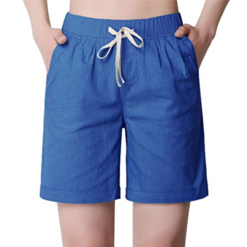 Chartou Women's Modest Loose Elastic-Waisted Bermuda Drawstring Casual Shorts (Large, Blue)