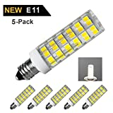 7W LED Corn Bulbs, jd e11 mini Candelabra LED Light Bulbs, 6000K daylight, 1000LM, E11 base,70W-100W Incandescent Equivalent, Dimmable, AC100V-130V, Pack of 5