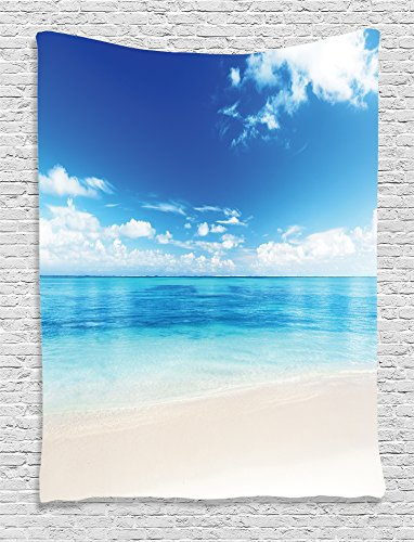 Ambesonne Ocean Decor Collection, Atlantic Dominican Carribean Island Beach View in Summer Photography, Bedroom Living Girls Boys Room Dorm Accessories Wall Hanging Tapestry, Aqua Blue White Ivory by Ambesonne