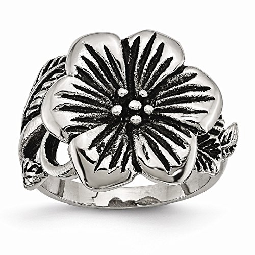 ICE CARATS Stainless Steel Flower Band Ring Size 7.00 Flowers/leaf Fashion Jewelry Gifts For Women For Her (Flower Swarovski Ice)