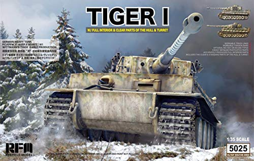 (Reyfield Model 1/35 German Army Tiger 1 Heavy Tank Prior Type Vittman Tiger / RFMRM5025 1:35 Rye Field Model Tiger I Sd.Kfz.181 with Full Interior & Clear Parts of Hull & Turret [Model Building KIT])