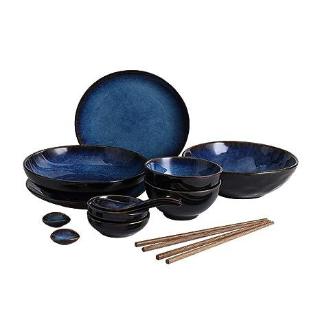 Amazon.com: Juego de vajilla de cerámica retro azul con ...