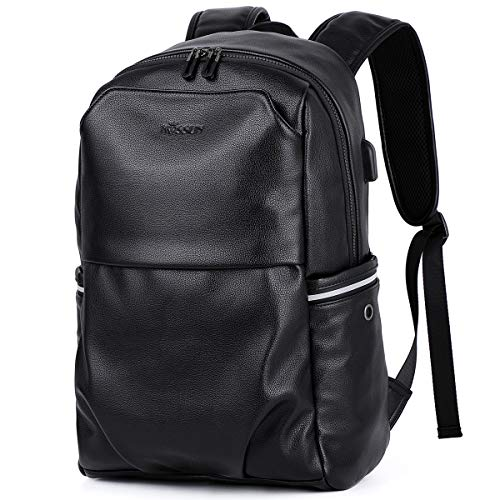 KISSUN Leisure PU Leather Backpack Water-Resistant with USB Port Charging Travel Backpack School College Bookbag 15.6 Laptop Computer Backpack Rucksack Light-Weight Backpack for Men