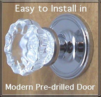 Door Knobs & Handles Finest fluted Depression Crystal Passage Door Knob Set