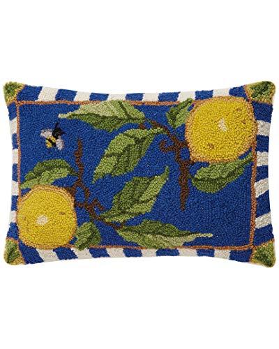 - Peking Handicraft Lemon Delft Hook Pillow, 12