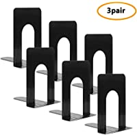 Bookends, Heavy Duty Metal Black Bookend Support for Shelves Offices, 6 x 5 x 6 Inch, Set of 3 Pairs