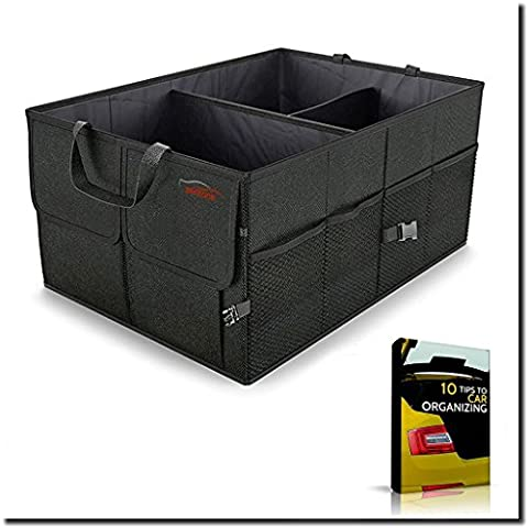 Zentone Car Trunk Organizer  Heavy Duty Collapsible/Foldable Car Organizer for Groceries, Tools & More  Ideal for Cars, Trucks, SUVs + (Sub Cargo Organizer)