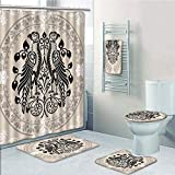 Bathroom Fashion 5 Piece Set shower curtain 3d print,Vintage,Ethnic Heraldic Eagle Birds with Damask Floral Figures Victorian Retro Design,Tan Black White,Bath Mat,Bathroom Carpet Rug,Non-Slip,Bath To