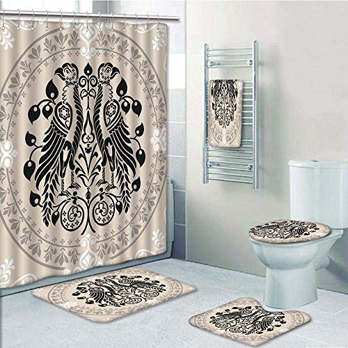 Bathroom Fashion 5 Piece Set shower curtain 3d print,Vintage,Ethnic Heraldic Eagle Birds with Damask Floral Figures Victorian Retro Design,Tan Black White,Bath Mat,Bathroom Carpet Rug,Non-Slip,Bath To by iPrint