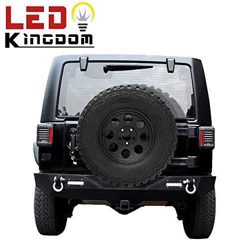 Rear 2013 Jeep - LEDKINGDOMUS Rear Bumper for 07-18 Jeep Wrangler JK and JK Unlimited with 2x LED Lights & 2