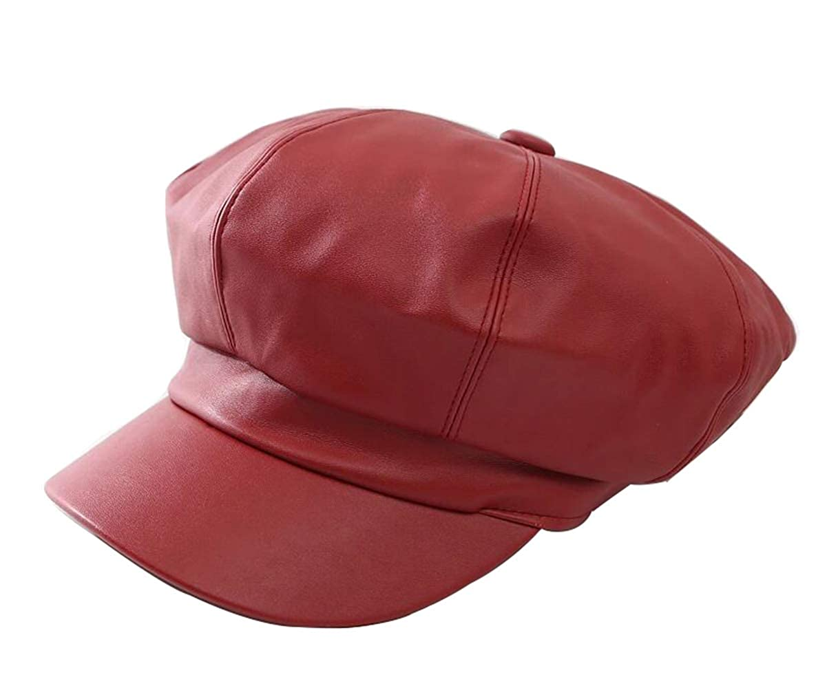 Womens PU Leather Cap Beret Newsboy Cap Baker Boy Hat Winter Visor for Ladies CN-49
