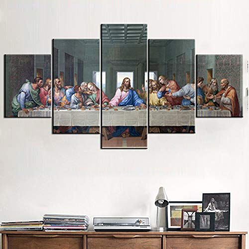 Rustic Home Decor Jesus Christ Wall Art The Last Supper Pictures 5 Panel Canvas House Decorations Living Room Holy Communion Paintings Modern Artwork Framed Gallery-wrapped Ready to Hang(60''Wx32''H)