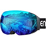 ENKEEO Ski Goggles - Detachable Dual Layer Anti-Fog Magnet Lens 100% UV400 Protection Frameless Snow Goggles with Bendable Frame, Windproof 3 Layers Foam for Men Women Snowboarding Skating