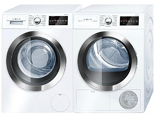 4. Bosch 800 Series White Front Load Compact Laundry Pair with WAT28402UC 24""