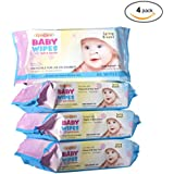 Baby Wipes, Spring Breeze Alcohol Free, Enriched With Vitamin E And Aloe Vera. 80 Count Per Pack -4 Pack- Household use.
