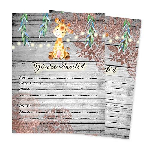 Giraffe Baby Shower Invitations Jungle Theme Boy Girl Gender Neutral Invite 20 Count and envelopes -