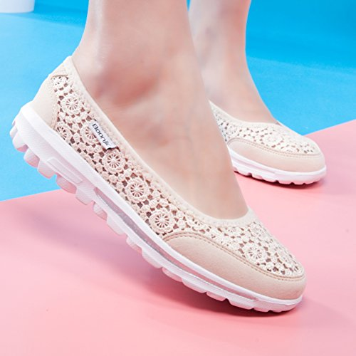 Sneaker KUIBU Breathable Beige Crochet Lightweight Shoes Platform Slip Low Toning Lace Heel Women On Sports gqOxt6rTwg