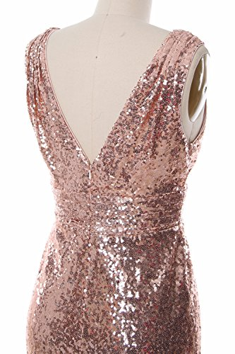 Evening Neck Bridesmaid Gown Women Wine Formal V Sequin Party Gown Maxi MACloth Red qXE1w