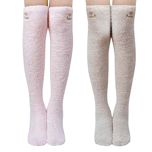 Skola Super Soft Warm Fuzzy over the Knee High Long Winter Cozy Slipper Socks - 2 Pairs-Value Pack (Pink/Khaki)