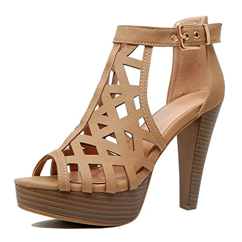 Sandals Heel Pu Ankle High Shoes Fashion Guilty Gladiator Tanv3 Platform Cutout Strap Rzp8pqw
