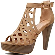 Guilty Shoes Cutout Gladiator Ankle Strap Platform Fashion High Heel Sandals