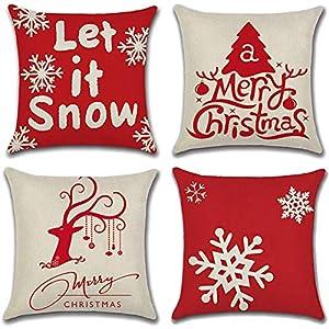 Gudotra 4 pcs Taie d'oreiller Arbre de Noël Taie d'oreiller Coussin en Lin de Coton Noël pour Canapé Décoratif 45x45cm…