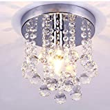 HOMEE Ceiling Chandelier-Energy-Saving Led Luxury Crystal Chandelier Simple Small Aisle Stair Hallway K9 Ceiling Lamp65292;Droplet Flush Ceiling Fitting,B-30Cm+Ampoule Ordinaire