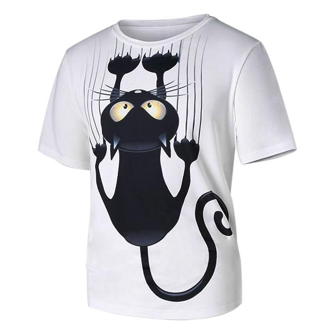 Camiseta de los Hombres,RETUROM Hombres Mujeres Pareja Modelos Cat Pattern Print Short-Sleeved