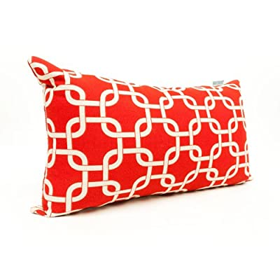 "Majestic Home Goods Red Links Indoor / Outdoor Small Throw Pillow 20"" L x 5"" W x 12"" H - Dimensions - 20 in. x 12 in. x 5 in. (approx.) Perfect portable size for all indoor and outdoor environments U.V. Treated Covers - these throw pillows uses an outdoor treated polyester and cotton cover that offers up to 1000 hours of protection Ultra Comfortable - the pillows are filled with our Super High Loft PolyFiber Fill to give them an ultra-soft cushion feel - patio, outdoor-throw-pillows, outdoor-decor - 51xKOQWdinL. SS400  -"